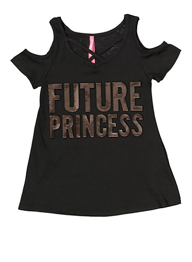 Girls 4-6x Future Princess 3D Foil Graphic Tee,BLACK,large
