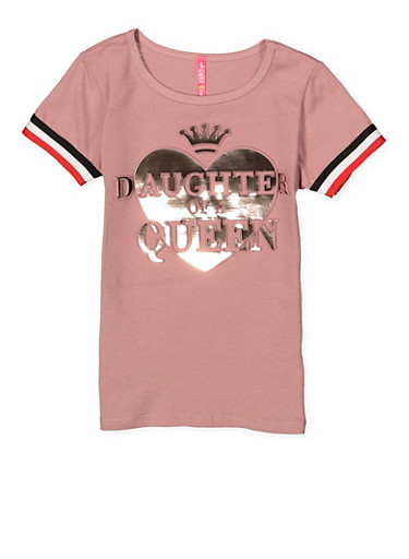 Girls 4-6x Daughter of a Queen Foil Graphic Tee,MAUVE,large