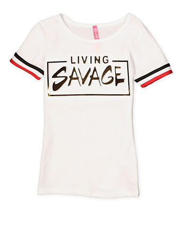Girls 4-6x Living Savage 3D Foil Graphic Tee,WHITE,large