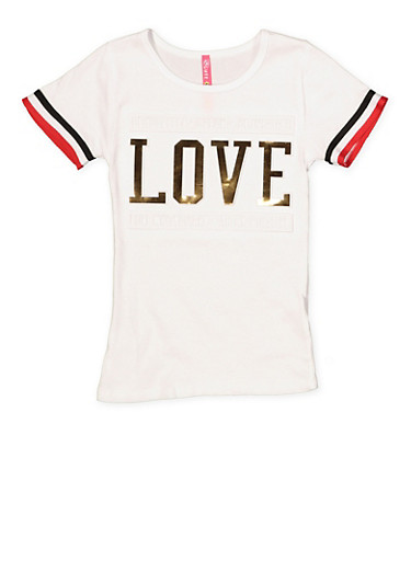 Girls 4-6x Love 3D Foil Graphic Tee,WHITE,large