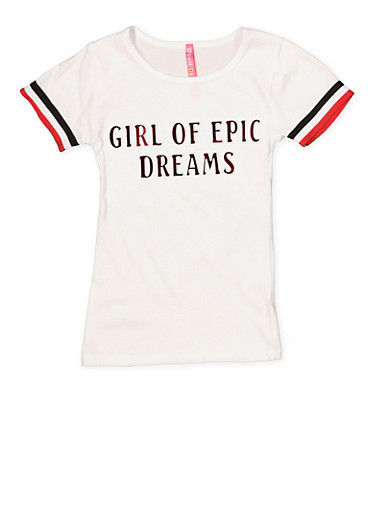 Girls 4-6x Dreams 3D Graphic Tee,WHITE,large