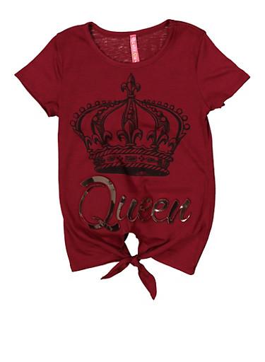 Girls 4-6x 3D Queen Graphic Tie Front Tee,WINE,large