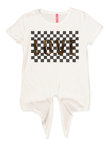 Girls 4-6x Love 3D Foil Checkered Tie Front Graphic Tee,IVORY,large