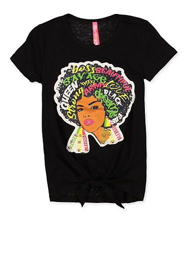Girls 4-6x Afro Girl Patch Tee,BLACK,large