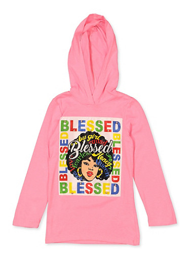 Girls 4-6x Blessed Studded Patch,NEON PINK,large