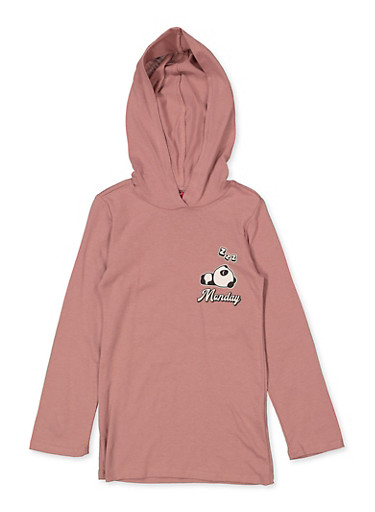 Girls 4-6x Panda Mood Hooded Top,MAUVE,large