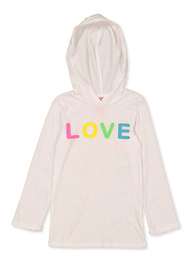 Girls 4-6x Hooded Love Tee,WHITE,large