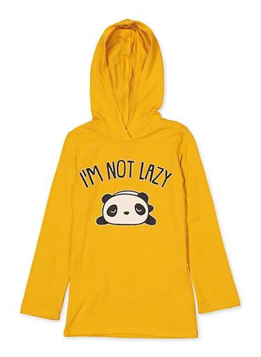 Girls 4-6x Im Not Lazy Panda Graphic Top,MUSTARD,large