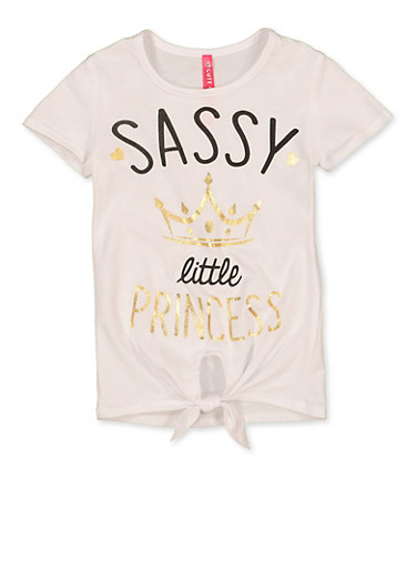 Girls 4-6x Sassy Little Princess Tee,WHITE,large