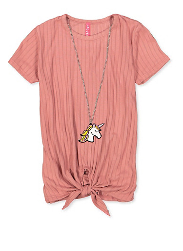 Girls 4-6x Ribbed Tie Front Tee with Necklace,MAUVE,large