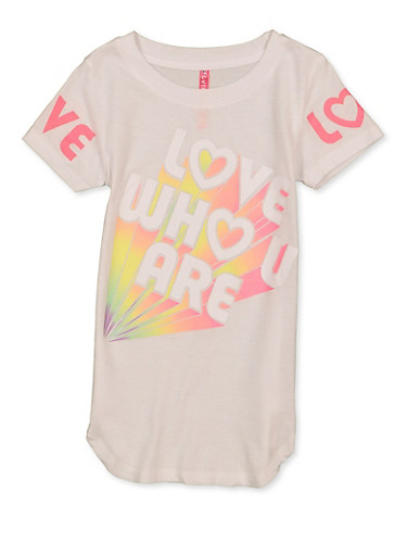 Girls 4-6x Love Who U Are Tee,WHITE,large