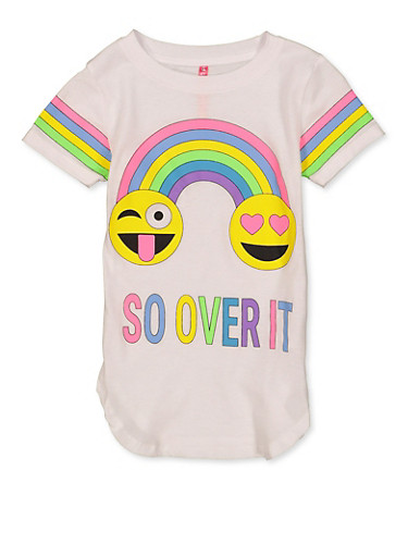 Girls 4-6x So Over It Graphic Tee,WHITE,large