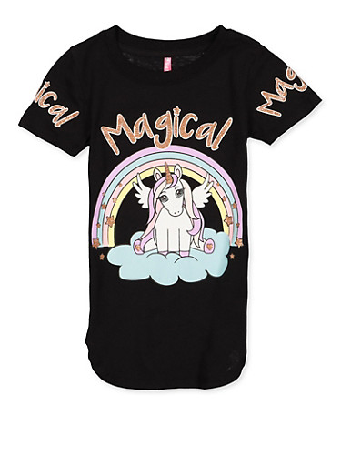 Girls 4-6x Magical Unicorn Graphic Tee,BLACK,large
