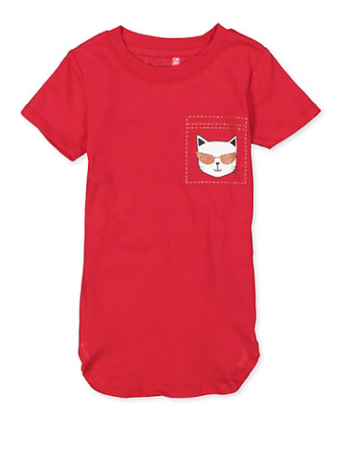 Girls 4-6x Are You Kitten Me Right Meow Tee,RED,large