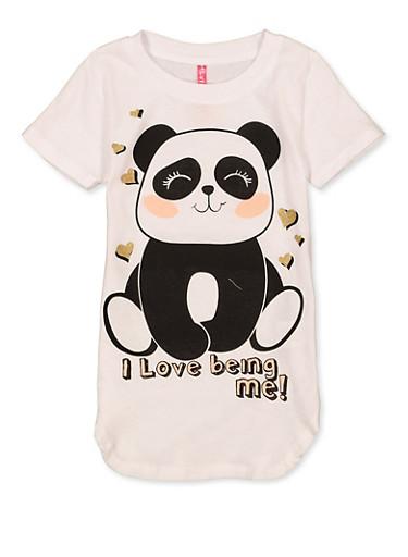 Girls 4-6x I Love Being Me Panda Tee,WHITE,large