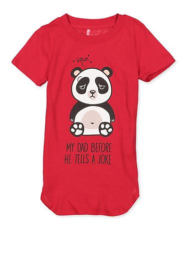 Girls 4-6x Panda Dad Joke Tee,RED,large