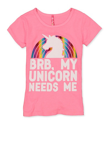 Girls 4-6x BRB My Unicorn Needs Me Tee,NEON PINK,large