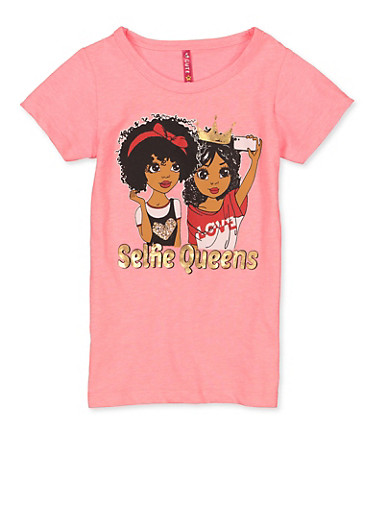Girls 4-6x Selfie Queens Tee,NEON PINK,large
