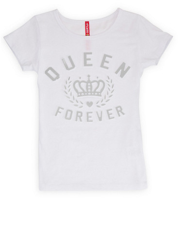 Girls 4-6x Queen Forever 3D Foil Graphic Tee,WHITE,large