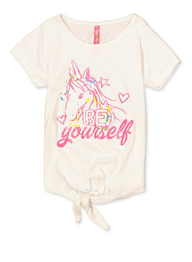Little Girls Be Yourself Graphic T Shirt,IVORY,large