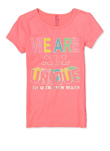 Little Girls We Are All Unique Graphic Top,NEON PINK,large