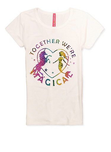 Little Girls Magical 3D Foil Graphic Tee,IVORY,large