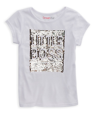 Girls 4-6x Reversible Sequin T Shirt,WHITE,large