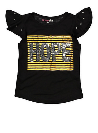 Girls 4-6x Reversible Sequin Graphic Tee with Rhinestone Sleeves,BLACK,large