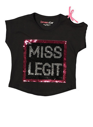 Girls 4-6x Reversible Sequin Cut Out Top,BLACK,large