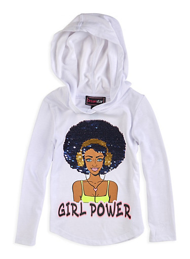 Girls 4-6x Reversible Sequin Girl Power Top,WHITE,large