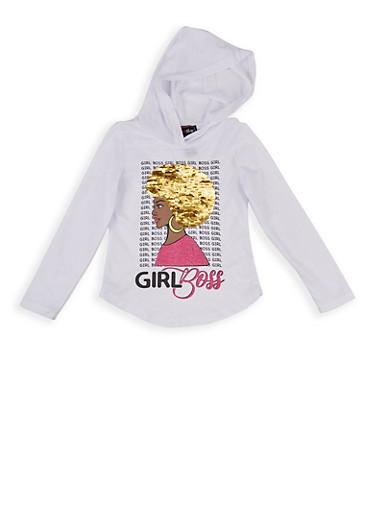 Girls 4-6x Girl Boss Reversible Sequin Hooded Top,WHITE,large