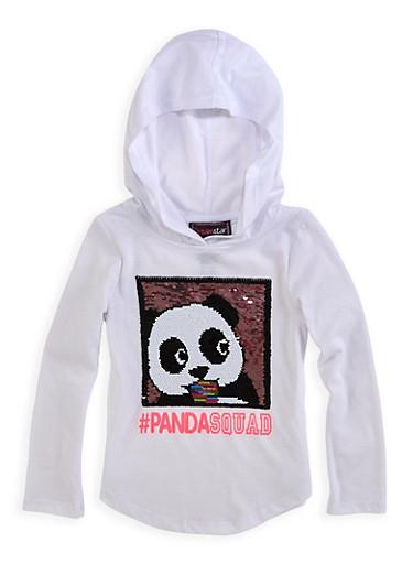 Girls 4-6x Reversible Sequin Panda Squad Top,WHITE,large