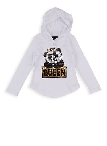 Girls 4-6x Queen Panda Reversible Sequin Hooded Top,WHITE,large