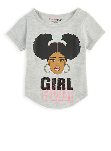Girls 4-6x Reversible Sequin Girl PWR Tee,HEATHER,large
