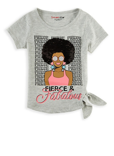 Girls 4-6x Reversible Sequin Fierce and Fabulous Tee,HEATHER,large