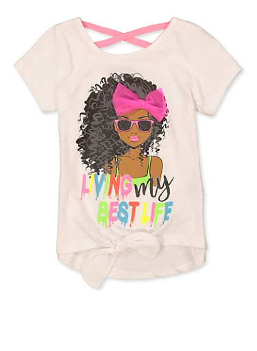 Girls 4-6x Living My Best Life 3D Bow Tee,WHITE,large