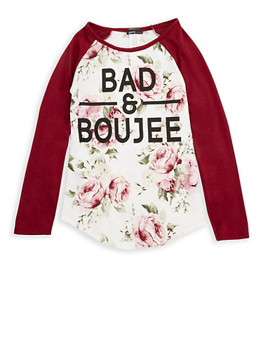 Girls 7-16 Floral Bad and Boujee Graphic Top,BURGUNDY,large