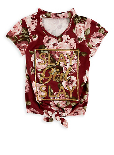 Girls 7-16 Foil Graphic Tie Front Top,WINE,large