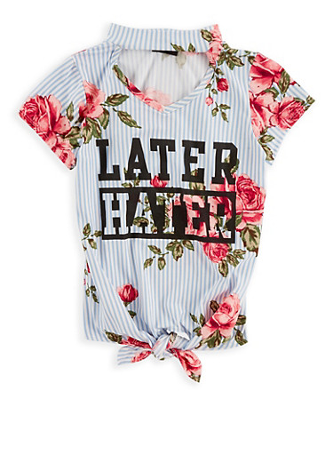 Girls 7-16 Later Hater Graphic Top,BLUE,large