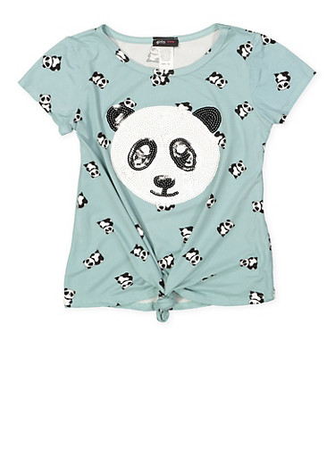 Girls 7-16 Sequin Panda Graphic Tee,TEAL,large