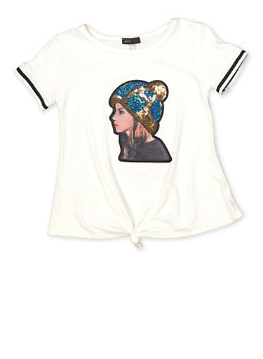 Girls 7-16 Sequin Patch Graphic Tee,IVORY,large