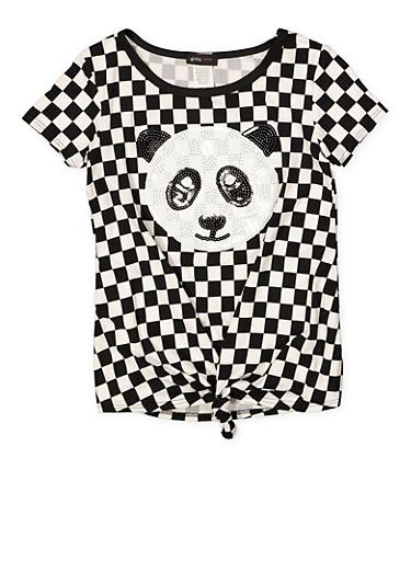 Girls 7-16 Sequin Panda Checkered Tee,BLACK/WHITE,large