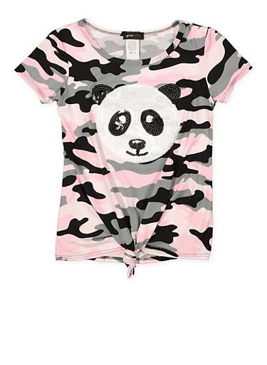 Girls 7-16 Sequin Panda Camo Tee,PINK,large