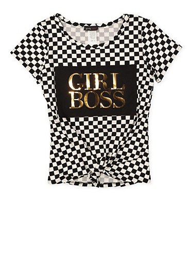 Girls 7-16 Girl Boss 3D Foil Graphic Tee,BLACK/WHITE,large