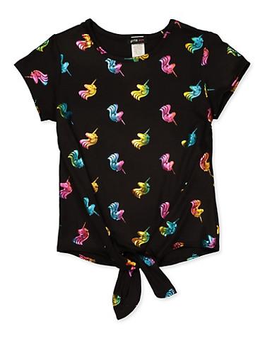 Girls 7-16 Black Foil Unicorn Print Tie Front Top,BLACK,large
