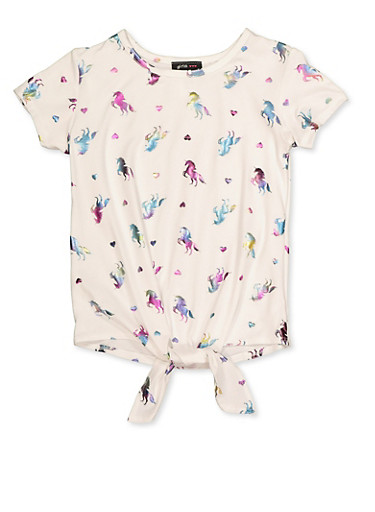 Girls 7-16 Foil Unicorn Print Tie Front Top,IVORY,large