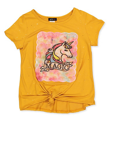 Girls 7-16 Unicorn Magic Tie Front Tee,MUSTARD,large