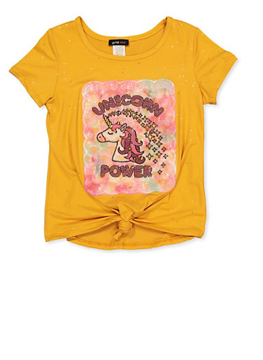 Girls 7-16 Unicorn Power Tee,MUSTARD,large