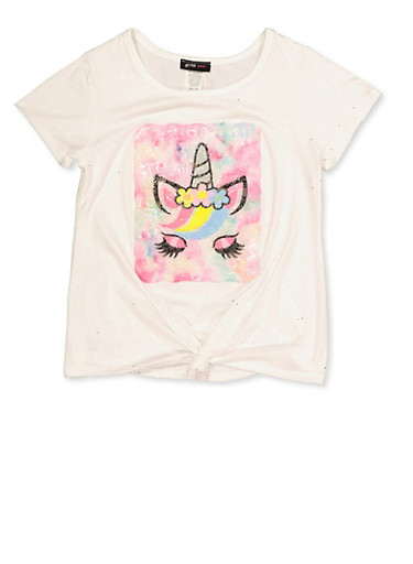 Girls 7-16 Unicorn Patch Tie Front Tee,IVORY,large