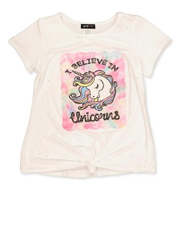 Girls 7-16 I Believe in Unicorns Patch Tee,IVORY,large